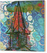 Crazy Red House In The Clouds Whimsy Wood Print
