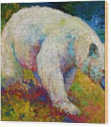 Creamy Vanilla - Kermode Spirit Bear Of Bc Wood Print by Marion Rose