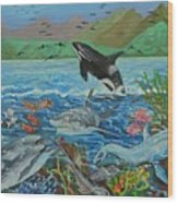 Creation Fifth Day Sea Creatures And Birds Wood Print