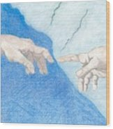 The Creation Hands Sistine Chapel Michelangelo Wood Print