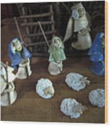 Creche Shepards And Sheep Wood Print