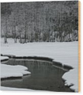 Creek In Snowy Landscape Wood Print