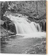 Creek Merge Waterfall In Black And White Wood Print