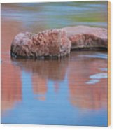 Creek Rocks With Cathedral Rock Reflection Wood Print