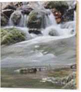 Creek With Rocks Spring Scene Wood Print