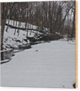 Creeks Battles The Snow And Cold To Remain Flowing. Wood Print
