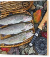 Creel With Native Trout  Wood Print