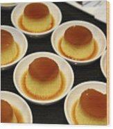 Creme Caramel Dessert Wood Print