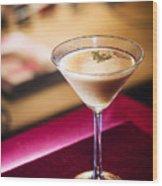 Creme Caramel Martini Cocktail In Bar Wood Print