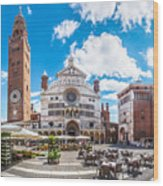 Cremona Market Square With Cathedral Wood Print