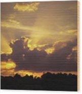 Crepuscular Rays Of Sunlight Wood Print