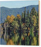 Crescent Lake Fall Colors Wood Print