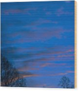 Crescent Moon At Sundown Wood Print