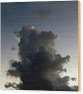 Crescent Moon Over A Storm Cloud Wood Print