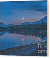 Crescent Moon Over Middle Lake In Bow Wood Print