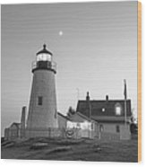 Crescent Moon Over The Pemaquid Point Lighthouse Pemaquid Me Black And White Wood Print