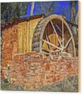 Crescent Moon Ranch Water Wheel Wood Print