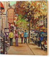 Crescent Street Montreal Wood Print