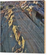 Crest Of Sandstone Wave At Sunset In Valley Of Fire Wood Print