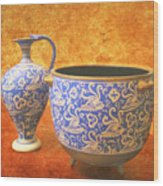 Crete Blue And Gold Jug And Bowl Wood Print