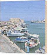 Crete Island Harbour  Wood Print