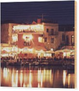 Crete. Rethymnon Harbor At Night Wood Print