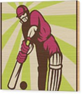 Cricket Sports Batsman Batting Retro Wood Print