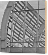 Cricket Stadium Architecture Black And White Wood Print