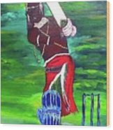 Cricket Warrior Wood Print