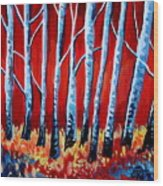 Crimson Birch Trees Wood Print