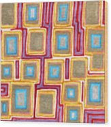 Crimson Gold And Squares  Wood Print