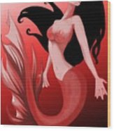 Crimson Mermaid Wood Print