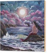 Crimson Mermaid Wood Print