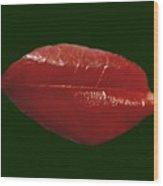 Crimson On Green Wood Print