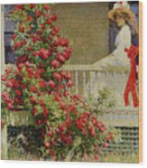 Crimson Rambler Wood Print by Philip Leslie Hale