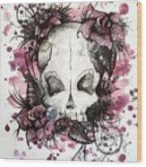 Crimson Skull Wood Print