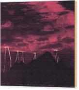 Crimson Storm Wood Print