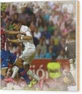 Cristiano Ronaldo Heads The Ball During The Spanish League Footb Wood Print