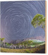 Croatia Star Trails Wood Print