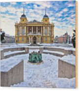Croatian National Theater In Zagreb Winter View Wood Print