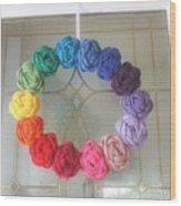 Crochet Rainbow Wreath Wood Print