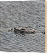 Crocodile Waiting Wood Print