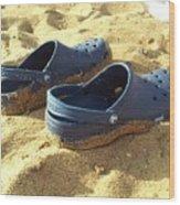 Crocs Shoes On Sandy Point Beach Wood Print