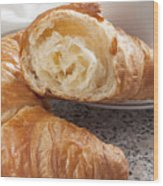 Croissants And Coffee Wood Print