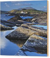 Cromwell Point Lighthouse Valentia Island Wood Print