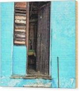 Crooked Blue Wood Print