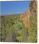 Crooked River And Mt Hood Oregon Wood Print