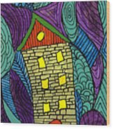 Crooked Yellow Brick House Wood Print