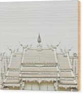 Crop Of A Exquisite And Magnificent Roof Of White Temple Aka Wat Rong Khun In Thailand Wood Print