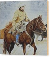 Cropped Ranch Rider Wood Print